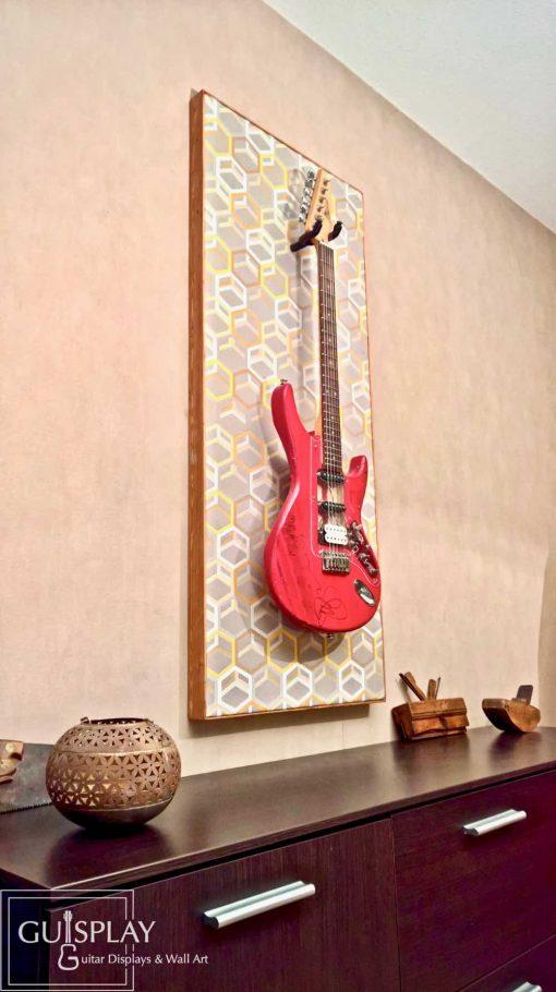 Guisplay Geometrik Wall Hanger Support Guitar Display Stand Geometric Fabric Art Framed Creation23(watermarked)