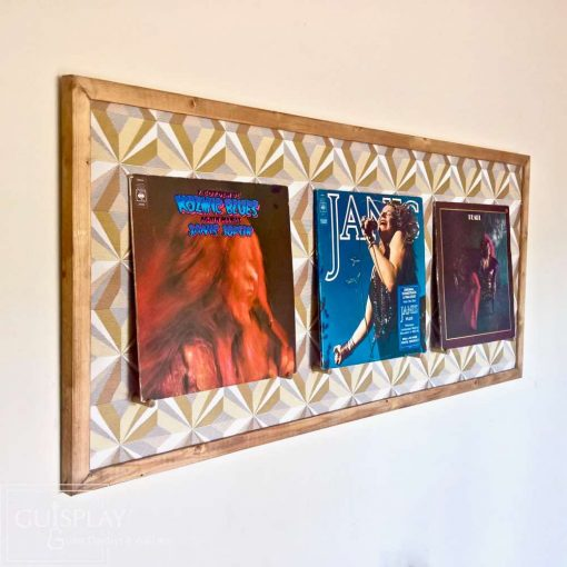LP Record Display Guisplay Display 3 Lp Holder Upholstery Fabric Geometrik2