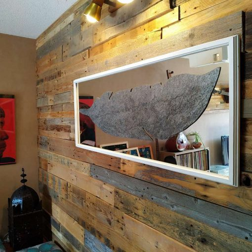 Wall Art Creation Feather Mirror Carved Mixed art Stone real by guisplay
